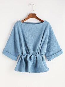 Blue Elastic Waist Raglan Sleeve Cuffed Blouse