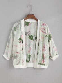 Green Floral Print Chiffon Top