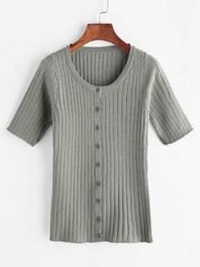 Ich Strickripp Shirt mit einem zugeknöpft - grau