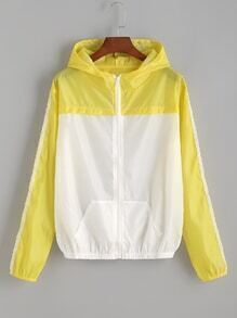 Yellow Contrast Hooded Zipper Jacket
