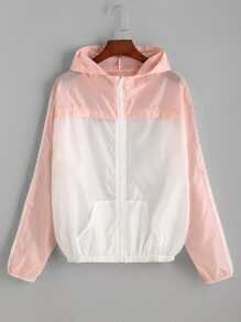 Pink Contrast Hooded Zipper Jacket