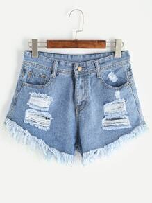 Shorts rotos en denim - azul