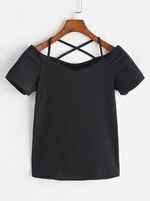 Schwarzes Kreuz zurück V-Ausschnitt T-Shirt