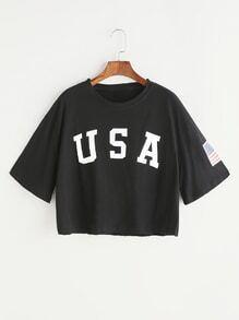 Schwarzes Buchstabe-Druck-Tropfen-Schulter-Ernte-T-Shirt