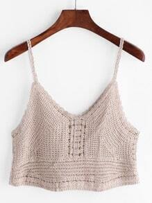 Apricot Crochet Hollow Out Crop Cami Top