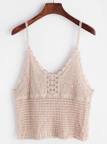 Apricot Scalloped Hem Hollow Out Crochet Cami Top