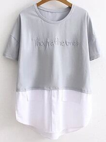 Grey Letter Embroidery Contrast Hem T-shirt