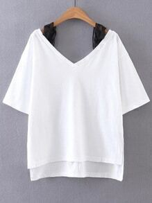 White Contrast Lace Strap Cold Shoulder High Low T-shirt