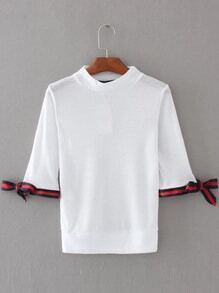 White Striped Trim Tie Cuff T-shirt