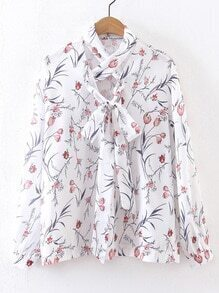 White Floral Criss Cross Front Tie Neck Blouse