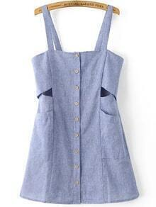 Blue Single Breasted Front Cut Out Pinafore Dress