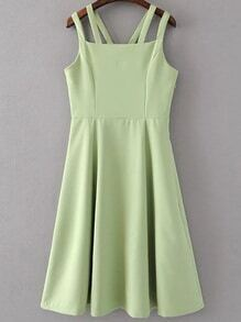 Green Zipper Side Double Strap Dress
