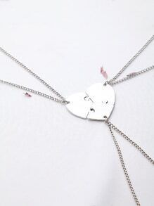 Silver Heart Pendant Necklace Set