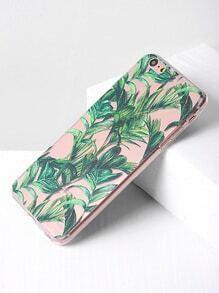 Green Leaf Print Clear iPhone 6 Plus/6s Plus Case