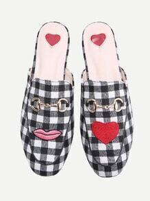 Black And White Plaid Heart Pattern Loafer Mules
