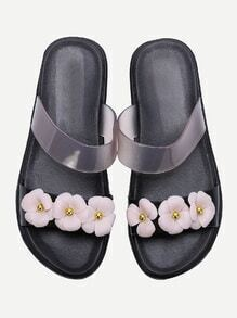Black Flower Design Slip On Sandals