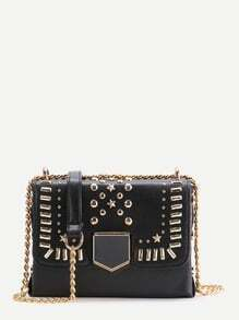 Black Star Studded PU Crossbody Bag With Chain