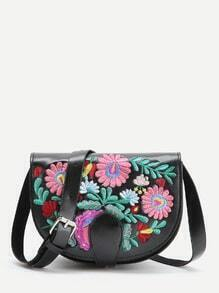 Black Flower Embroidery PU Saddle Bag