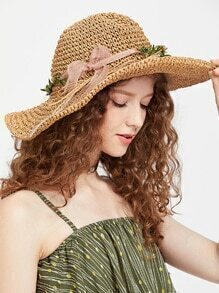 Khaki Flower Detail Straw Hat With Bow
