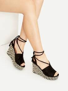 Black Peep Toe Lace Up Wedge Sandals