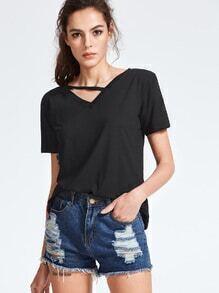 Black Strappy V Neck Short Sleeve T-shirt