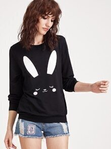 Black Rabbit Print Sweatshirt