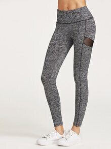 Leggings de malla en panel - gris