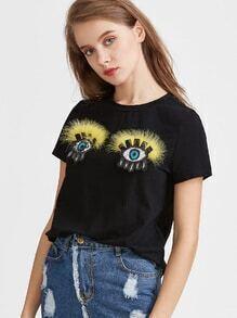 Black Faux Fur Sequin Eyes Applique T-shirt