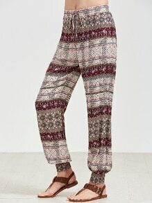 Multicolor Vintage Print Smocked Hem Pants