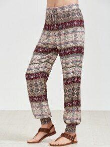 Pantalons avec estampado de vintage con bajos ajustados - multicolore