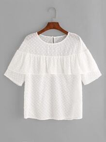 White Ruffle Trim Polka Dot Jacquard Top