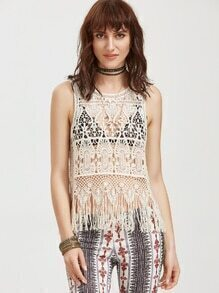 Beige Fringe Trim Hollow Out Crochet Tank Top