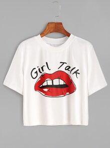 White Red Lip Print Crop T-shirt