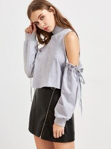 Heather Grey Cold Shoulder Drawstring Sleeve Sweatshirt