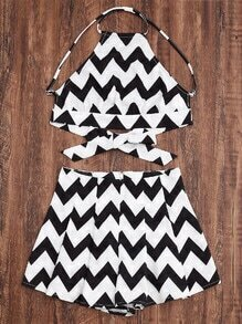 Black And White Chevron Print Crisscross Racerneck Top With Shorts