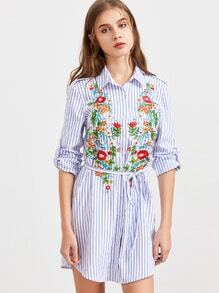 Blue Striped Flower Embroidered Shirt Dress With Belt