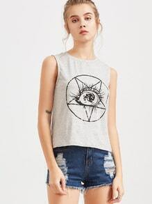 Top con estampado de ojo - gris