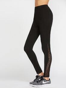 Black Leopard Lace Insert Leggings