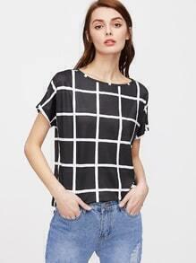 Camiseta a cuadros - negro