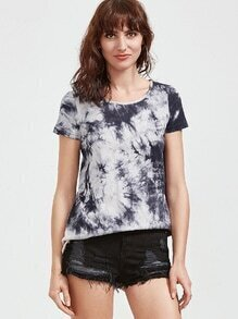 Black And White Tie Dye Print Split Back T-shirt