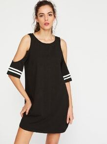 Black Open Shoulder Striped Sleeve Tee Dress
