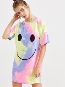 Multicolor Pastel Tie Dye Print Short Sleeve Tee Dress