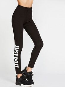 Leggings con estampado de letra - negro