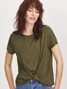 Olive Green Ribbed Knit Twist Front T-shirt
