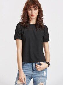 Black Mesh Insert Short Sleeve T-shirt