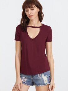 Burgundy Cutout V Neck Short Sleeve T-shirt