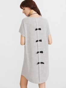 Grey Marled Knit Bow Back Tee Dress