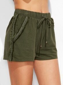 Olive Green Frayed Lace Trim Drawstring Waist Shorts