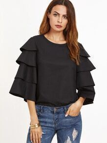 Black Keyhole Back Layered Sleeve Top