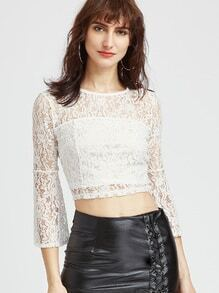 White Hollow Out Lace Keyhole Back Crop Blouse